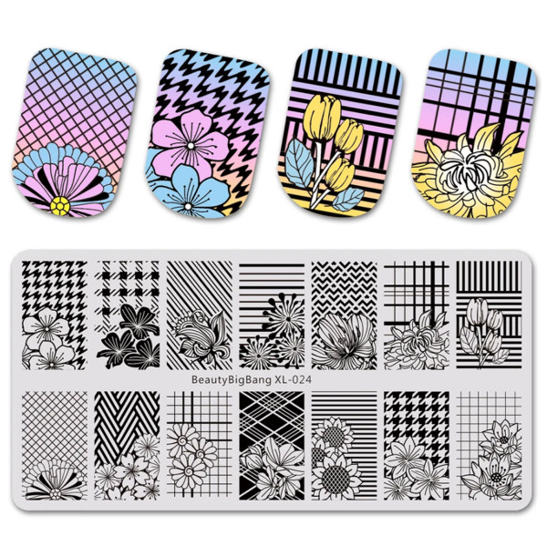Blume Stamping Schablone Beauty 24