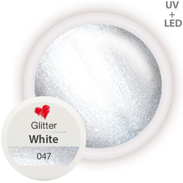 Glitter Farbgel 047 White 5ml