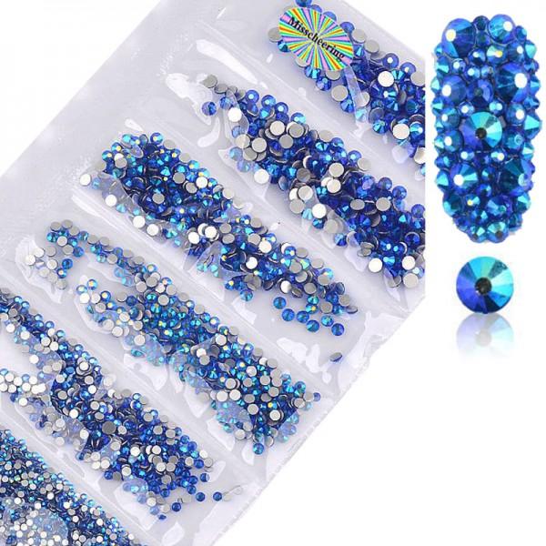 Glas Strass Mix Sapphire AB nailart