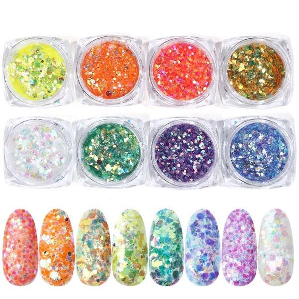 8er Glitter Mix Neon bunt