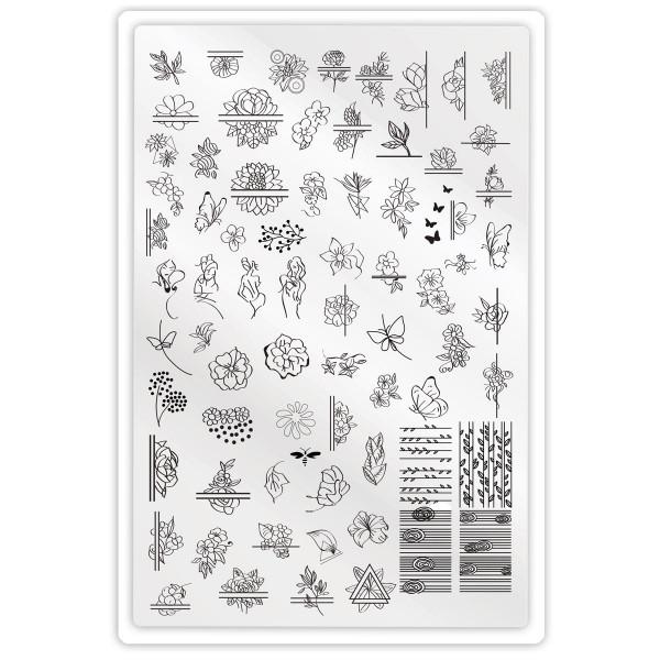XXL Stamping Schablone Blume Geometrisch