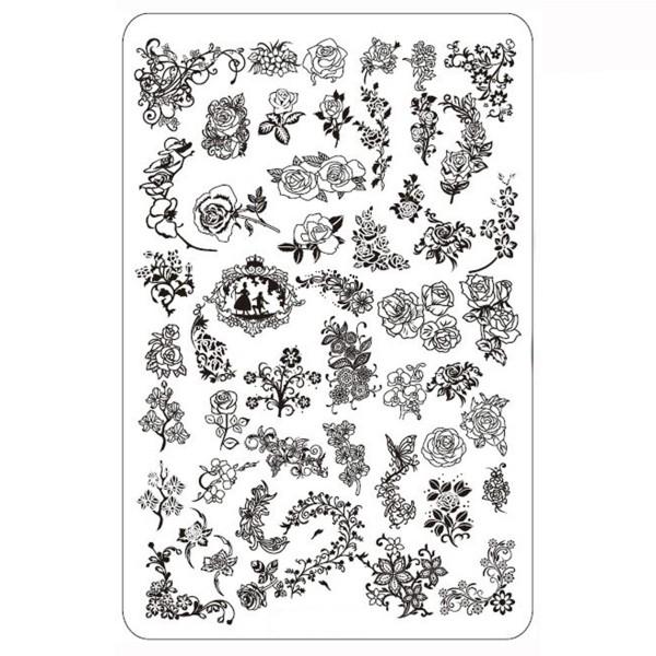 Stamping Schablone Blume 4