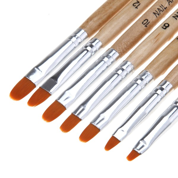 7 teiliges Gel Pinsel Set Holz