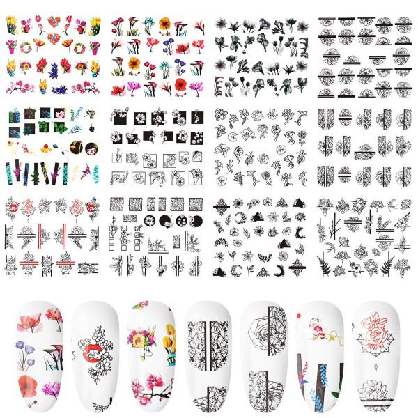 12x Blume Nailart Tattoo für Nägel