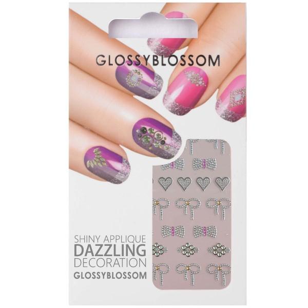 Glossy Blossom Nail Sticker 15 schleife herz