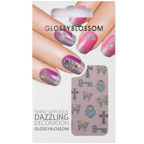 Glossy Blossom Nail Sticker 4 Schmetterling Schlüssel