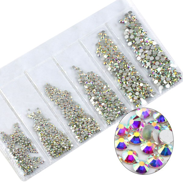 Glas Strass Steine Crystal AB Mix Nailart