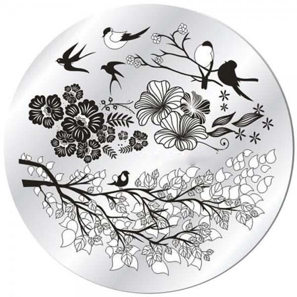 Stamping Schablone Blumen und Vögel