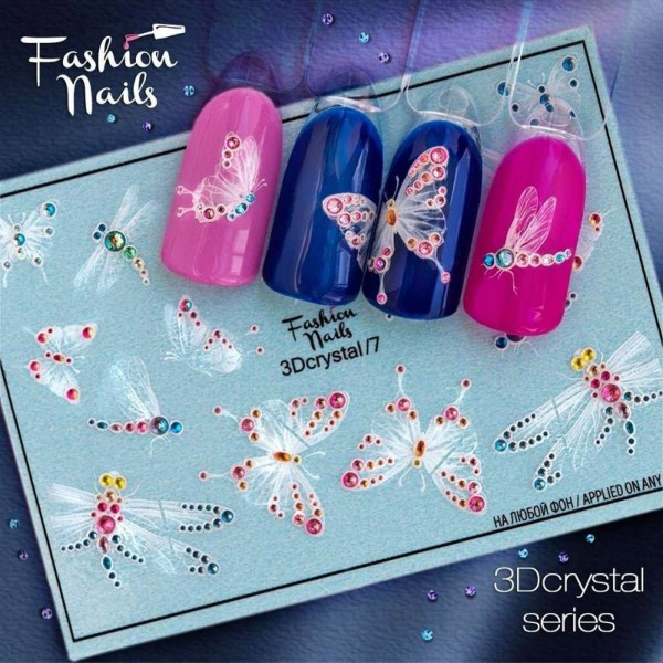 3D Crystal Nail Slider mit Schmetterling