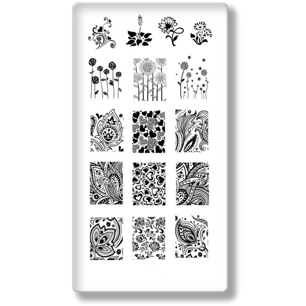 Stamping Schablone Blume Frühling Platte