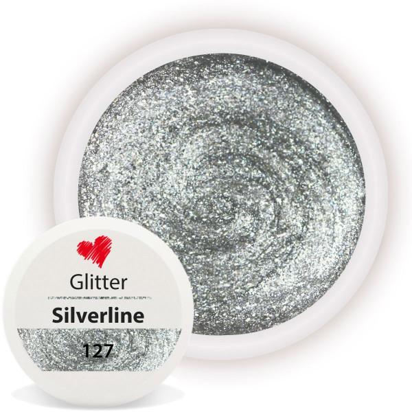 Glitter Farbgel Silverline Silber nailart