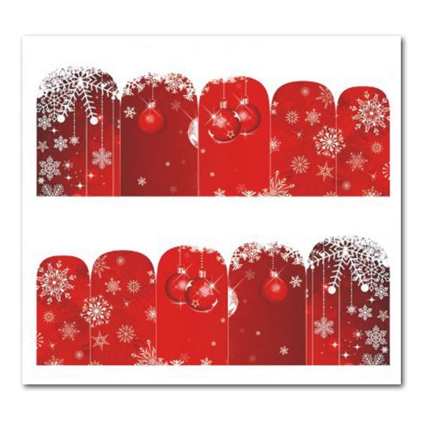 Weihnachten Nail Tattoo Slider Wrap Rot Schnee