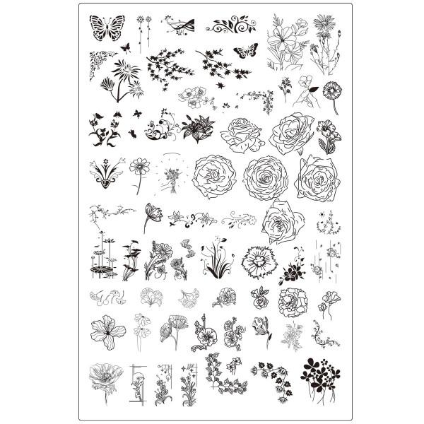 XXL Blume Stamping Schablone Rose