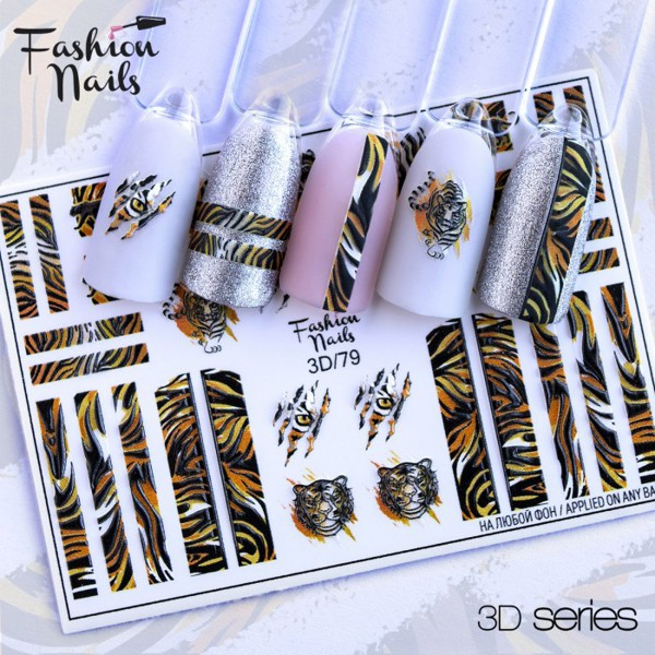Fashion Nails 3D Slider Tiger Muster