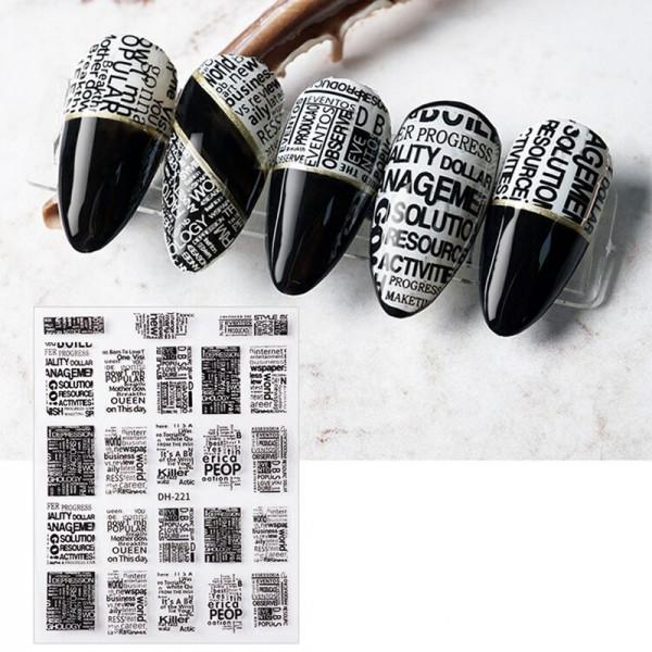 Zeitung Nail Sticker naildesign Buchstaben