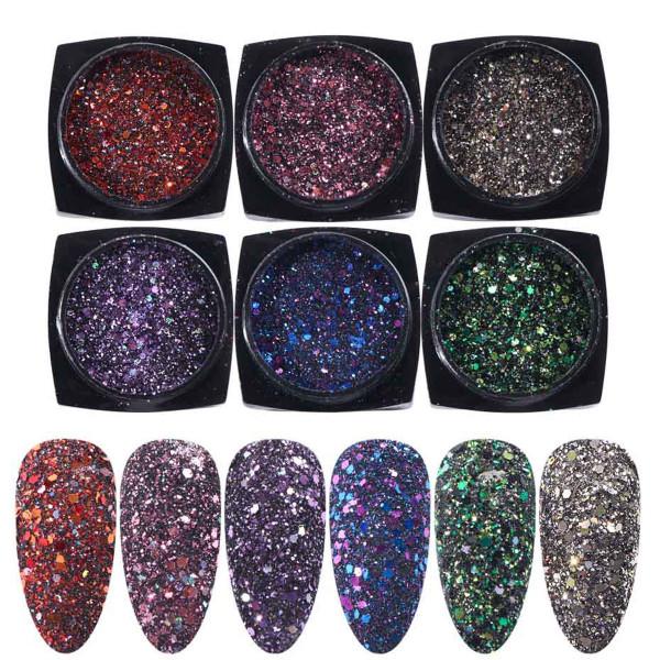 6 Glitter Mix Set für Nailart und Modellage