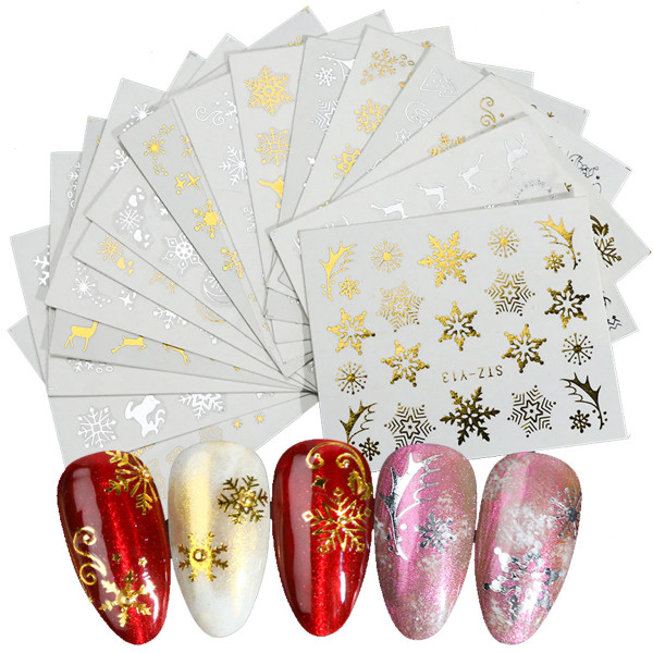 16 Xmas Sticker nailart silber gold