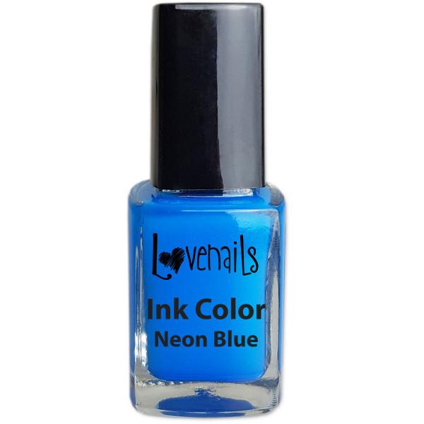 Ink Color nailart Neon Blau Sommer