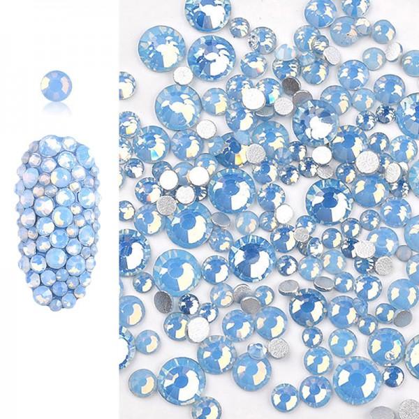 Glas Strasssteine Opal Blue Mix