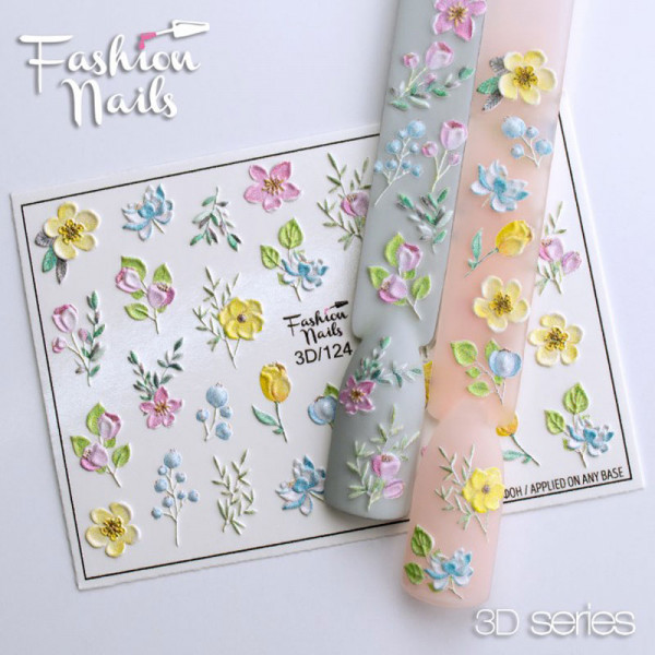 3D Nail Slider 124 Fashion Nails Blumen Frühling