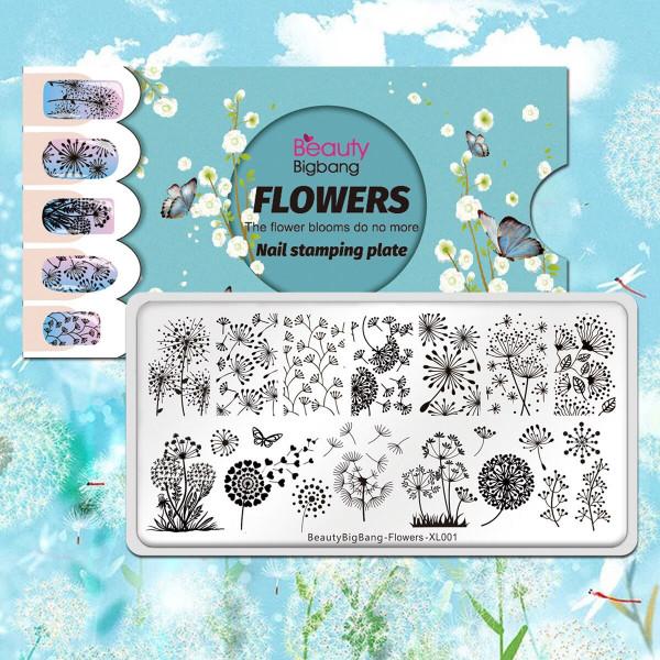 Stamping Schablone Flowers Blumen Nailart