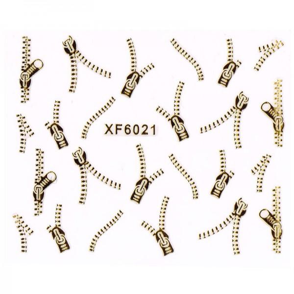 Nailart Tattoo Reißverschluss Gold