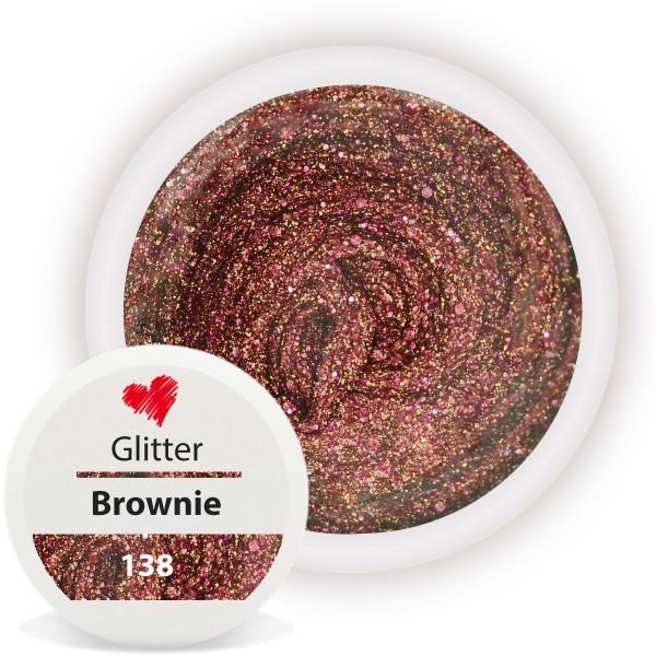 Glitter Farbgel Brownie Braun 5ml Nailart UV-Gel Modellage