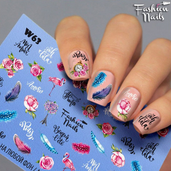 Blumen Slider Fashion Nails Sommer Bunt Design
