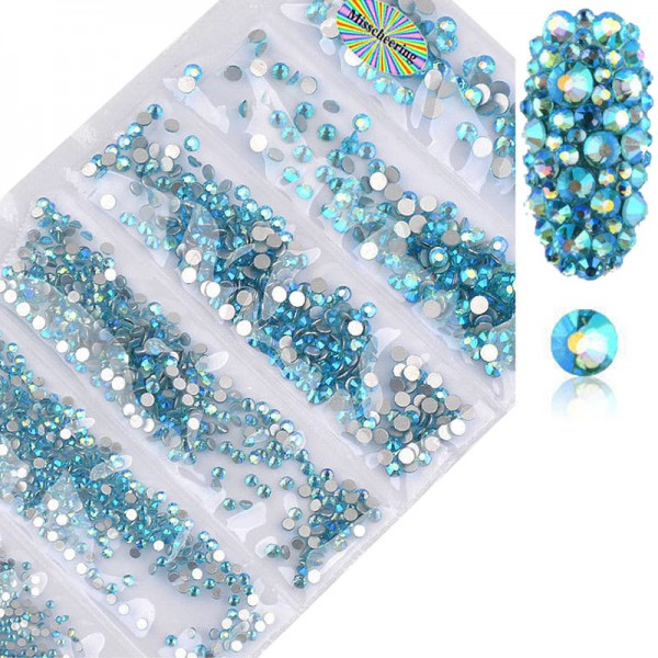 Glas Strass Mix Aquamarine AB