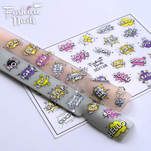 Comic Schrift 3D Nail Slider 128 Fashion Nails