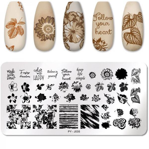 Stamping Schablone Blumen Schrift Nailart