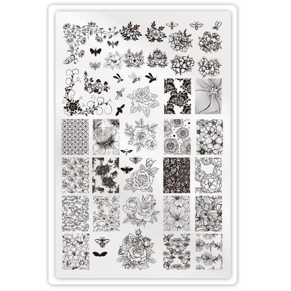 XXL Stamping Schablone Blume für Fullcover Nails