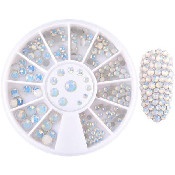 Glas Strasssteine Opal White Rondell
