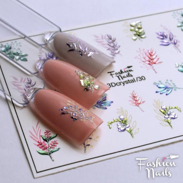 3D Crystal Nail Slider Blumen Fashion Nails