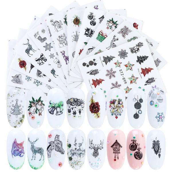 12 Xmas Nailart Tattoo Set Weihnachten