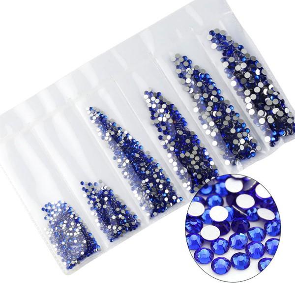 Glas Strass Steine Sapphire Mix Nailart