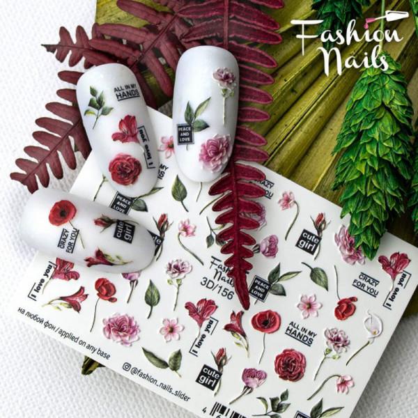Blumen 3D Nail Slider für Fingernägel