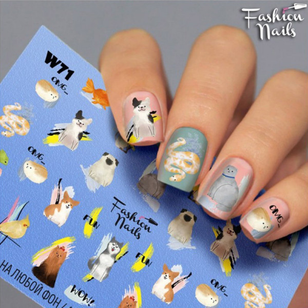 Katze Hund Slider Fashion Nails Bunt Design