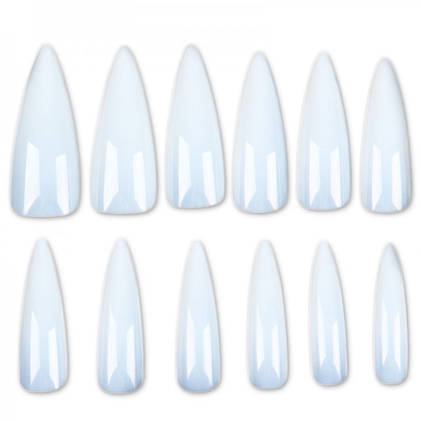 500 Stiletto Tips Natur im Tipkasten Nails