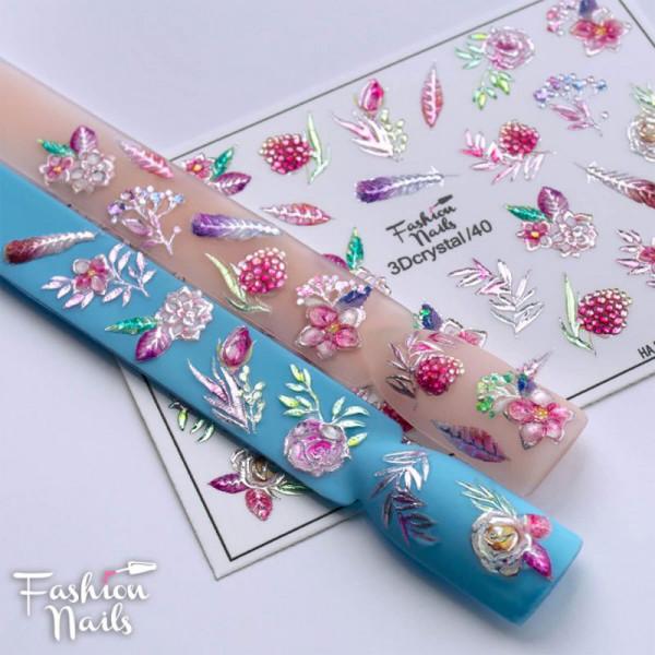 3D Crystal Slider Blumen Frühling Nailart