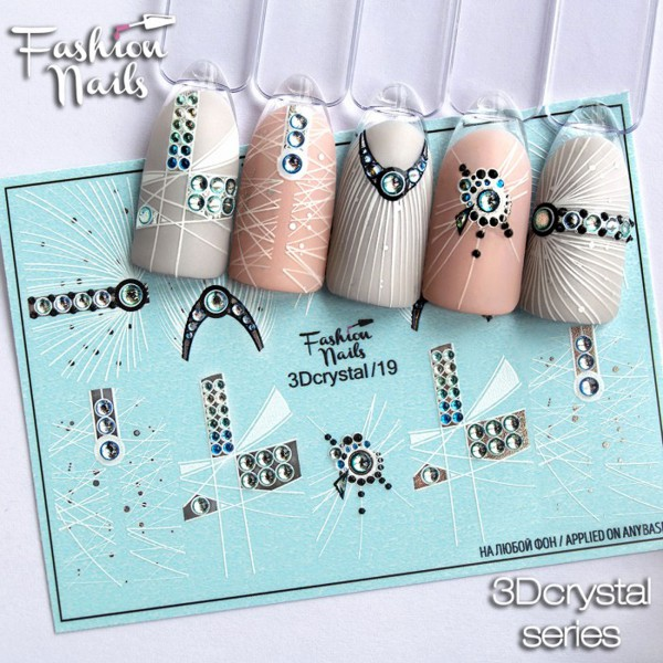 3D Crystal Nail Slider Strass Abstrakt