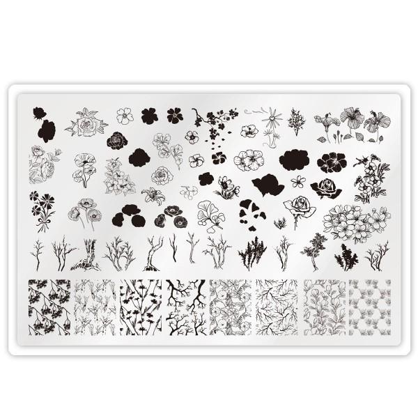 XXL Stamping Schablone Blume für Doppel Motive