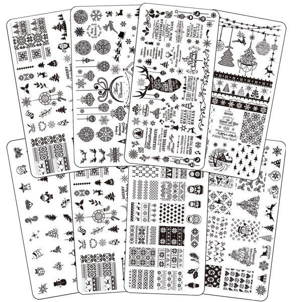 8x Stamping Schablone Xmas
