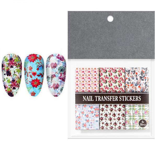 30 Transferfolien Set Blumen nailart set