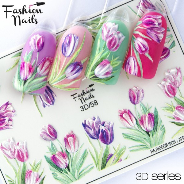 Fashion Nails 3D Slider Blumen Tulpen