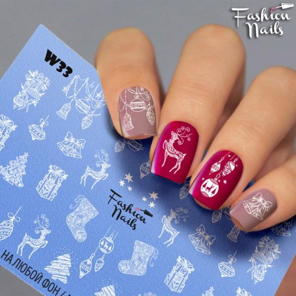 Weihnachten Slider White 33 von Fashion Nail