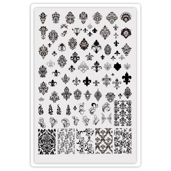 Ornamente XXL Stamping Schablone mit Schnörkeln