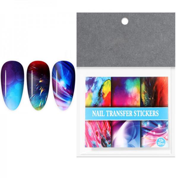 30 Transferfolien Set Galaxy nailart