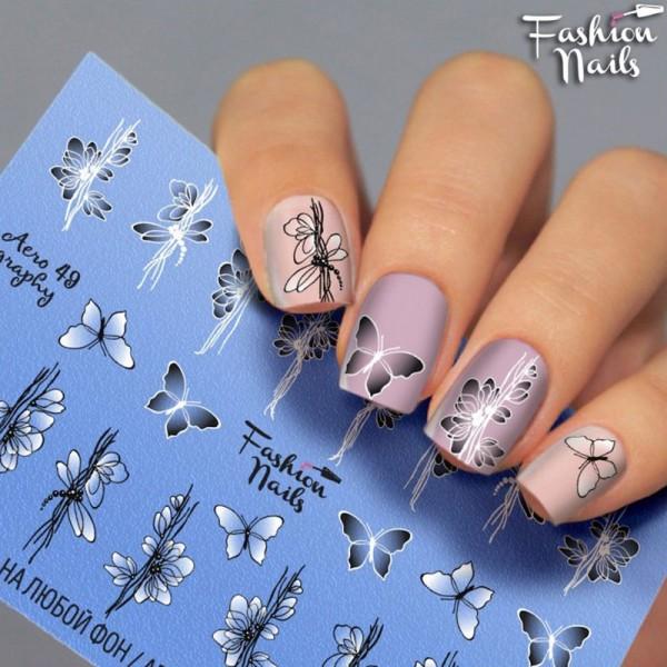 Fashion Nails Airbrush Slider Blumen Schmetterling