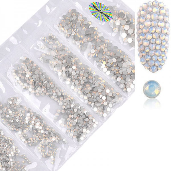 Glas Strass Mix Opal White Nails